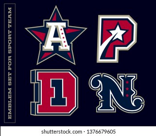 Modern professional letter emblems for sport teams. A,P,D,N letter