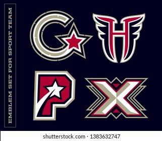 Modern professional letter emblems for sport teams. C H P X letter
