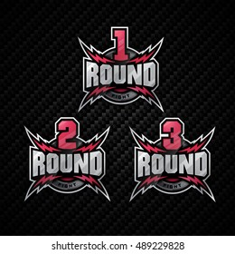 Modern professional logo design for boxing tournament. Round one, two, three. Fight.