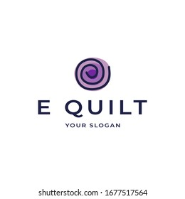 Modern Professional Logo Design, Letter E with Blanket or Quilt or Circular Lines in the shape of the letter E and Purple Circle Blanket Shape