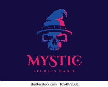 modern professional logo emblem mystic in blue and pink theme