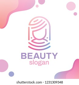 Modern professional logo female face style in one line. Elements of colored blue or pink waves. Face identification technology. T-shirt print beauty salon or hairdresser.