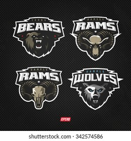 Modern professional logo set with wolf ram and grizzly bear for a sport team
