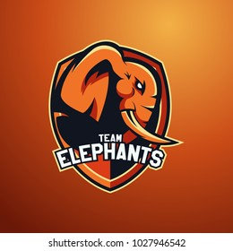 Modern professional logo for sport team. Elephant mascot. Elephants, vector symbol on a dark background.