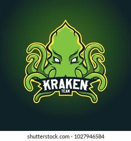 Modern professional logo for sport team. Kraken mascot. Octopus, vector symbol on a dark background.