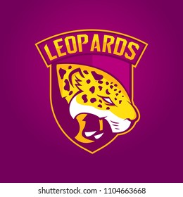 Modern professional logo for sport team. Leopard mascot. Leopards, vector symbol on a dark background.