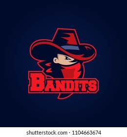 Modern professional logo for sport team. Bandit mascot. Bandits, vector symbol on a dark background.