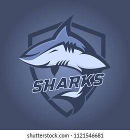 Modern professional logo for sport team. Shark mascot. Sharks, vector symbol on a dark background.