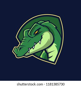 Modern professional logo for sport team. Alligator mascot. Crocodile, vector symbol on a dark background.