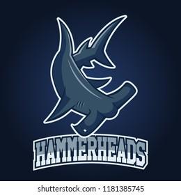 Modern professional logo for sport team. Shark mascot. Hammerheads, vector symbol on a dark background.
