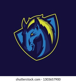 Modern professional logo for sport team. Wild horse mascot. Stallion vector symbol isolated on a dark background.