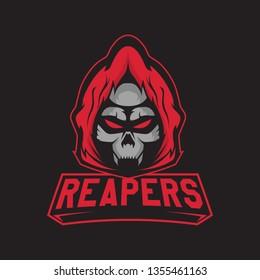 Modern professional logo for sport team. Reaper mascot. Skeletons, vector symbol on a dark background.