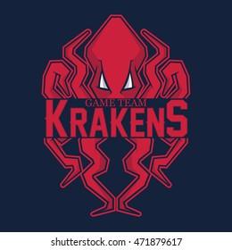 Modern professional logo for sport team. Kraken mascot. Octopus, vector symbol on a red background.