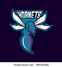 Modern professional logo for sport team. Hornet mascot. Hornets, vector symbol on a dark background.