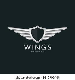 Modern professional metal wings shield template logo design