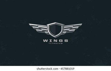 Modern professional metal wings shield template logo design