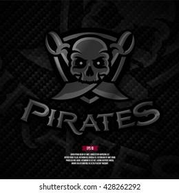 Modern professional pirates football logo on carbon background.