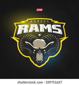 Modern professional rams logo for a sport team