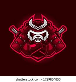 Modern professional samurai panda logo design