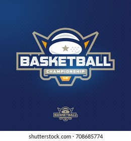 Modern professional sport logo badge for a basketball game events
