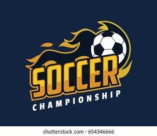 Modern Professional Sports Badge Logo - Flaming Soccer Championship