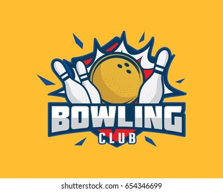 Modern Professional Sports Badge Logo - Bowling Club Association