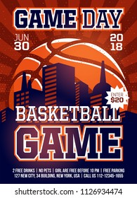 modern professional sports design poster with basketball tournament in orange theme.