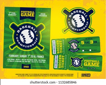 modern professional sports design poster and ticket and emblem for baseball tournament.