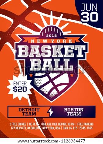 modern professional sports design poster basketball のベクター画像