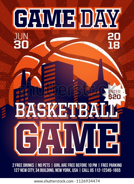 Modern Professional Sports Design Poster Basketball Stock