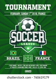 modern professional sports flyer design with soccer league in green theme.