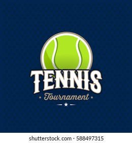 Modern professional tennis tournament logo with ball. Sport badge for team, championship or league. Vector illustration