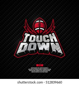 Modern professional touch down logo. American football logo.