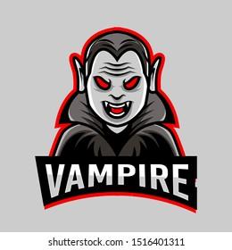 modern professional vampire sport logo or mascot illustration. Premium quality badge for tshirt design