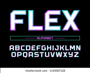 Modern professional vector alphabet with latin letters. Flex typeface in gradient