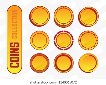 modern professional vector cryptocurrency coin set in yellow and gold theme