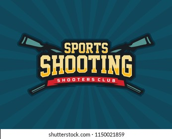 Modern professional vector emblem shooting for shooters club in blue theme