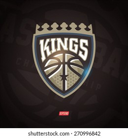 Modern professional vector Kings logo for a basketball team