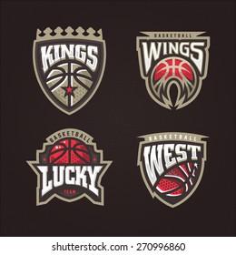Modern professional vector logo set for a basketball team