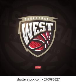 Modern professional vector West logo for a basketball team