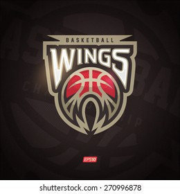 Modern professional vector Wings logo for a basketball team