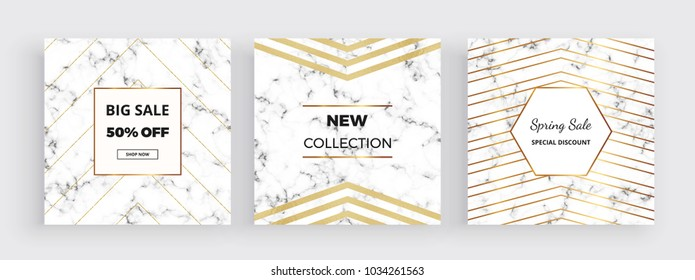 Modern promotion card, marble texture banner with gold foil and glitter lines background. Square template for designs, card, flyer, invitation, party, birthday, wedding, email, web