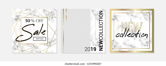 Modern promotion card, marble texture banner with gold foil
