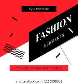 Modern promotion square web banner Fashion Elements, for social media mobile apps. Elegant promo banner for online shopping with abstract pattern, vector illustration.