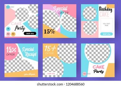 Modern promotion square web banner for social media mobile apps. Elegant sale and discount promo backgrounds fo digital marketing. Email ad newsletter layouts. Cake Sale. Color Pastel.