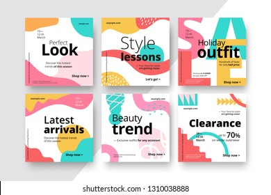 Modern promotion square web banner for social media mobile apps. Elegant sale and discount promo backgrounds with abstract pattern. Email ad newsletter layouts.