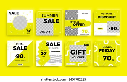 Modern promotion square web banner. Discount promo backgrounds layout. Multipurpose sale banner set for social media mobile apps and digital