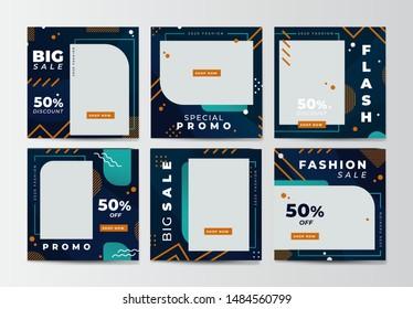 Modern promotion square web banner for social media mobile apps