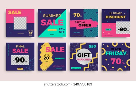 Modern promotion square web banners. Discount promo backgrounds layout. Multipurpose sale banner set for social media mobile apps and digital