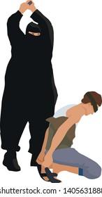 Modern public execution beheading, man in black cuts head off